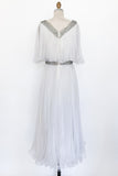 1960s Embellished Chiffon Pleated Dress - S/M