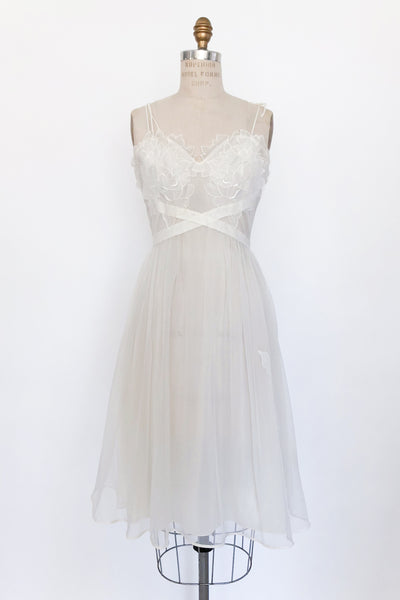 1950s Leaf Bodice Slip Dress - XS