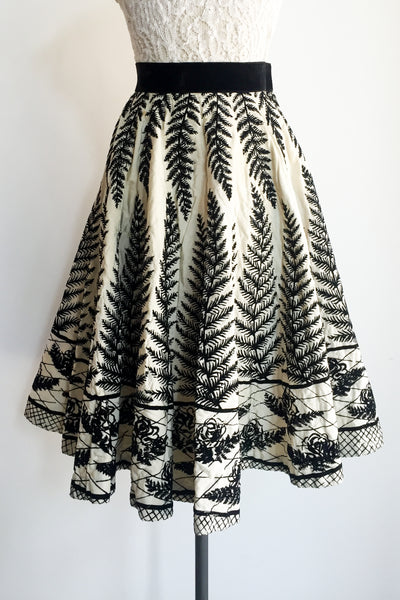 1950s Quilted Velvet Burnout Fern Skirt - XS/S