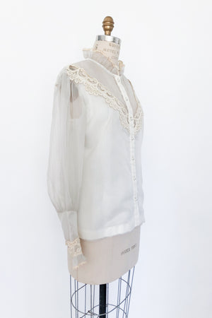 1970s Nylon High Neck Poet Sleeves Top - S/M