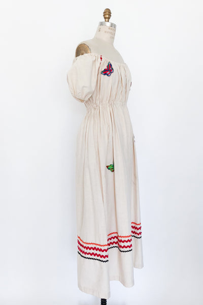 1970s Beige Linen Off-the-Shoulder Dress with Embroidered Appliques - S/M