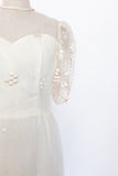 Vintage Ivory Organza Embroidered Dress - S