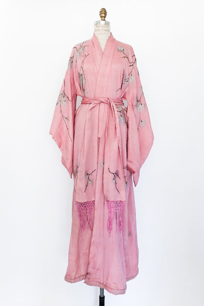 Antique Pink Silk Embroidered Kimono Robe - One Size