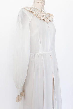 1930s Rayon Chiffon and Lace Dressing Gown - S/M
