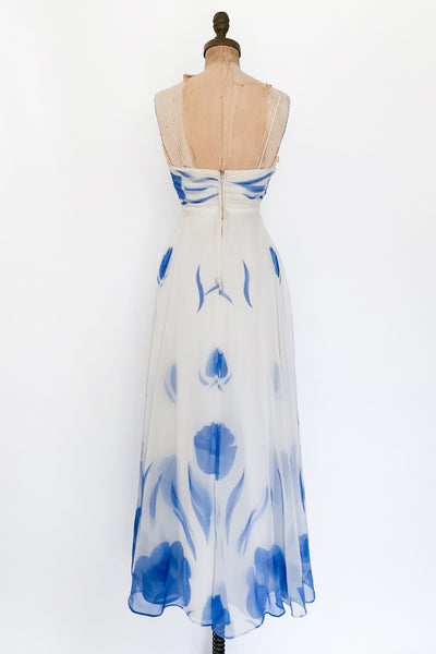 1950s Chiffon Dress with Blue Tulip Florals - XS