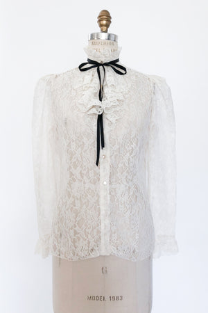 1970s Lace High Neck Top With Black Ribbon - S