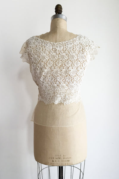 1950s Embroidered 3D Lace Cutout Top - M