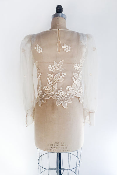 Vintage Organza Embroidered Top - XS/S