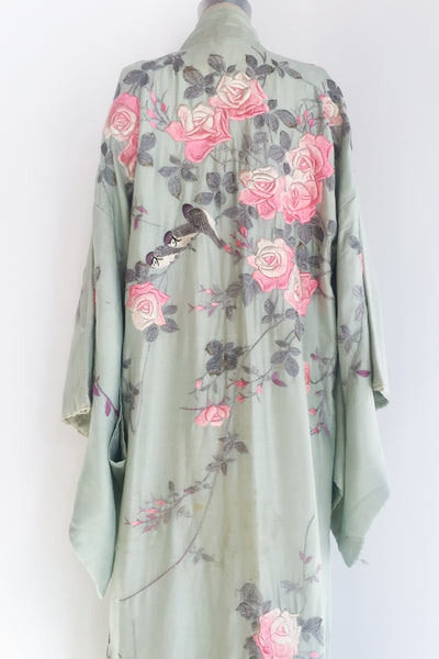 1920s Mint Green Silk Embroidered Robe - One Size