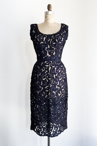 1960s Midnight Blue Soutache Ribbon Lace Dress - M