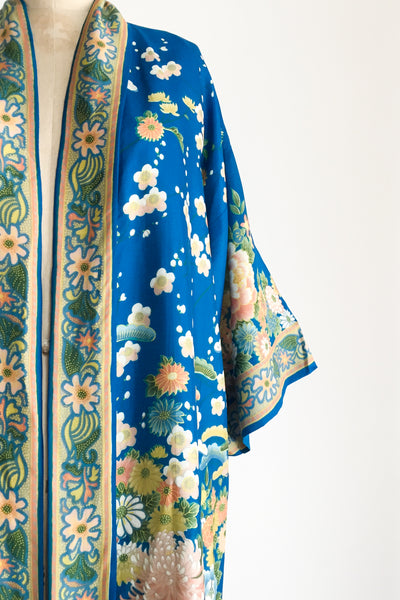 1940s Blue Silk Floral Robe - One Size