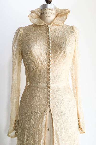 1930s Silk Lace Trained Dressing Gown - XS/S