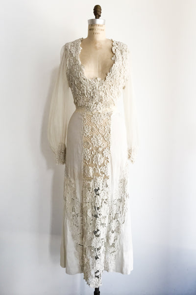 Edwardian Irish and Embroidered Batiste Dress - XS/S