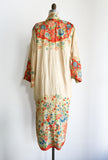 1920s Orange Floral Pongee Silk Dressing Robe - One Size