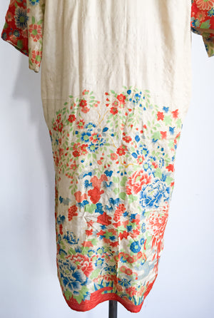 1920s Raw Silk Floral Print Robe - One Size