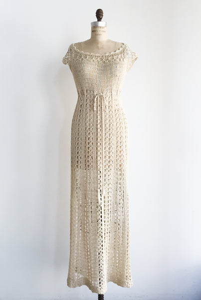 1970s Eggshell Macrame Dress - S/M