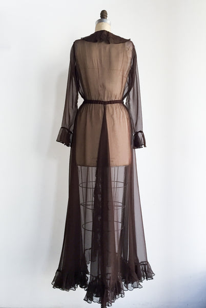 Vintage Chocolate Ruffled Sheer Hostess/Dressing Gown - S/M