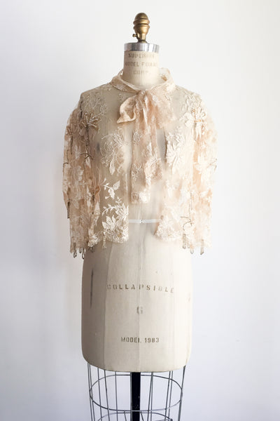 Vintage Light Peach Lace Capelet - One Size