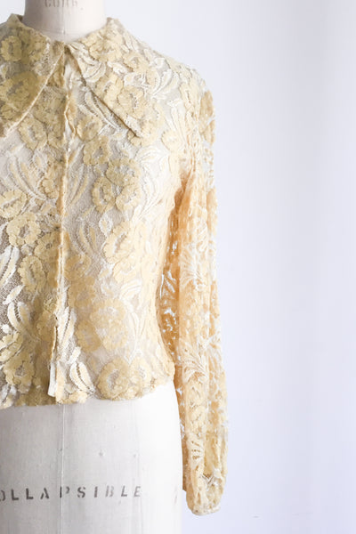 1930s Yellow Silk Lace Poet Sleeves Top - S