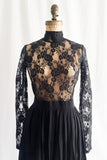 Vintage Black Sheer Silk and Lace Dress - S