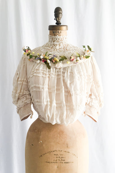 Antique Victorian Silk high Neck Top with Floral Embellishments - XS
