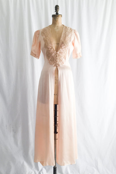 1930s Peach Silk Charmeuse Dressing Gown - S