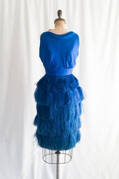 1960s Cobalt Blue Silk Chiffon and Ostrich Feather Dress - S