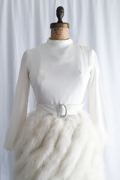 1960s Mod Rayon and Marabou Feather Dress - XS