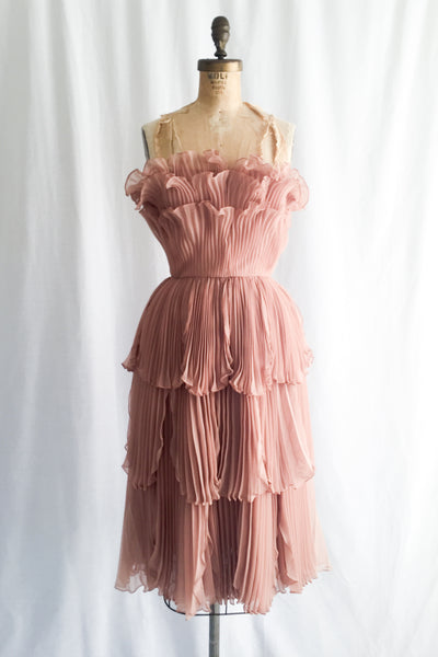 1950s Peach Mauve Chiffon Dress - XS