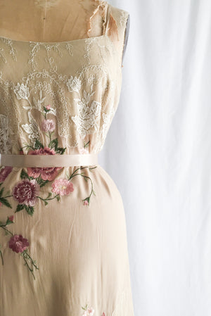 1990s Silk Embroidered Column Dress - S/M