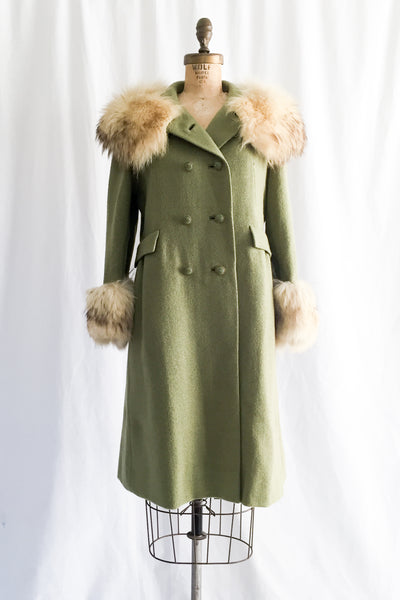 1950s Light Green Wool and Fox Fur Coat - S/M