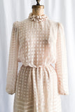 1980s Eggshell Sheer High Neck Dress - S/M