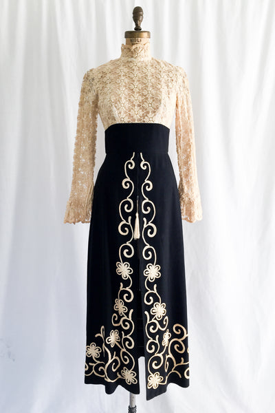 1960s Embroidered Lace and Rayon Embroidered Dress - S
