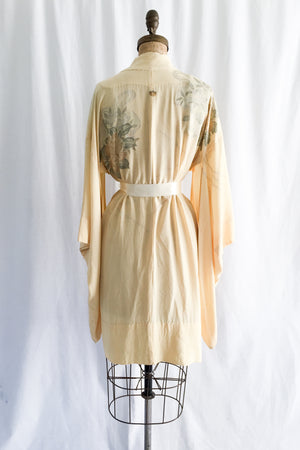 Vintage Light Yellow Silk Short Kimono - One Size