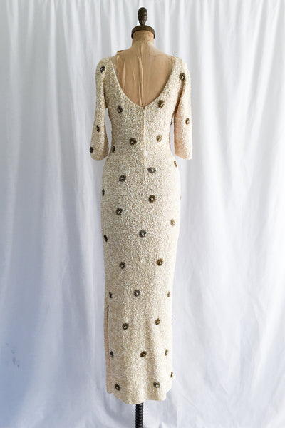 1960s Gene Shelly Ivory Wool Beaded Gown - XS-M