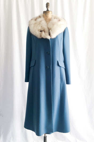 1960s Mod Wool and Fox Collar Coat - M