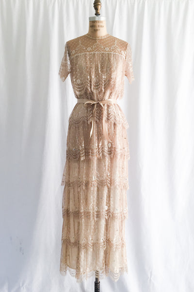 RESERVED 1960s Tiered Ecru Silk Lace Dress - S/M