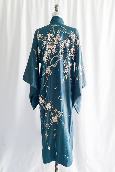 Antique Silk Cherry Blossom Embroidered Kimono - One Size