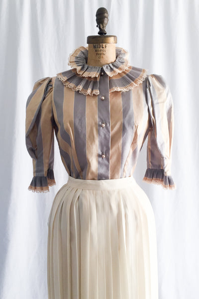 Vintage Silk Taffeta High Neck Top - M