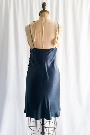 1990s Chloe' Midnight Blue Silk Slip Dress - S