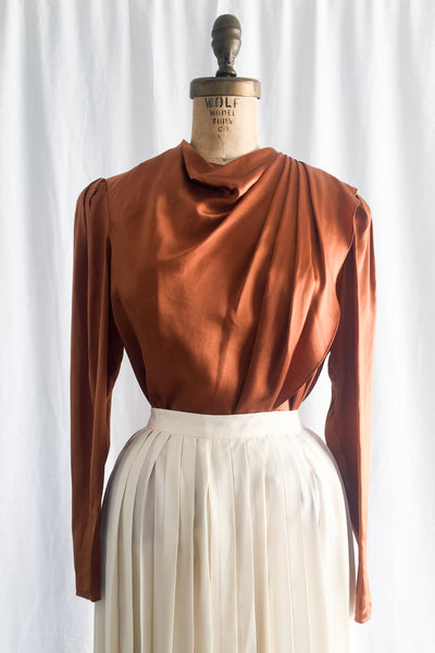Vintage Copper Silk Blouse/Top - S/M