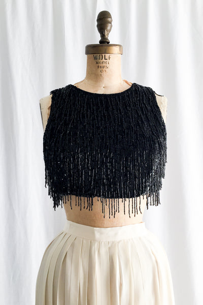 Bugle Beaded Silk Cropped Top - XS