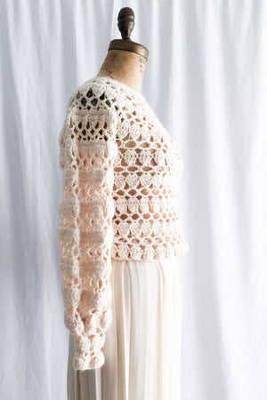 Vintage Poet Sleeve Crochet Sweater - S