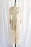 1970s Crochet Lace Dressing Gown - XS/S