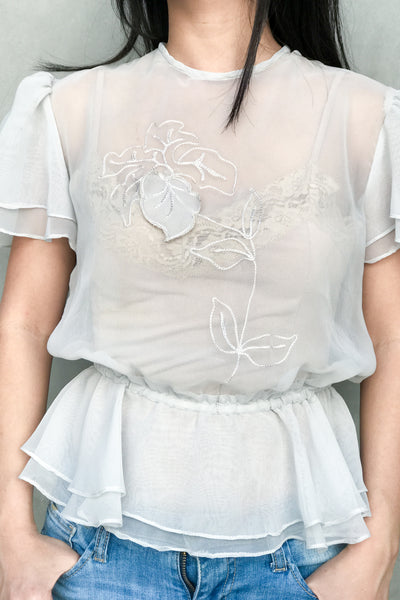 Vintage Sheer Chiffon Top - S/M