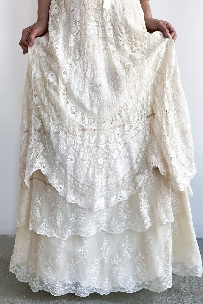 Antique Mixed Lace Cotton Embroidered Wedding Dress - S ...