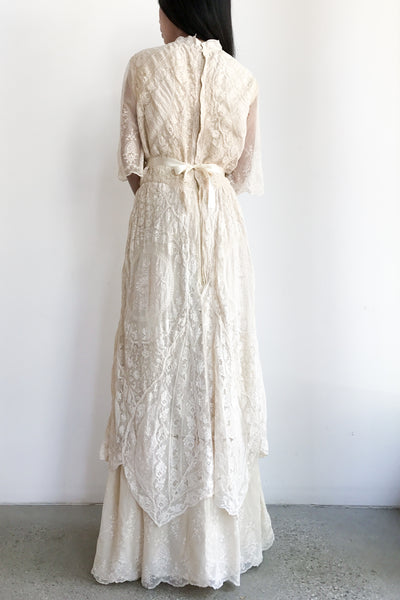 Antique Mixed Lace Cotton Embroidered Wedding Dress - S