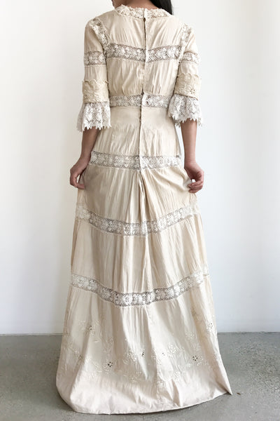 Antique Edwardian Embroidered Silk Linen Gown - XS/S
