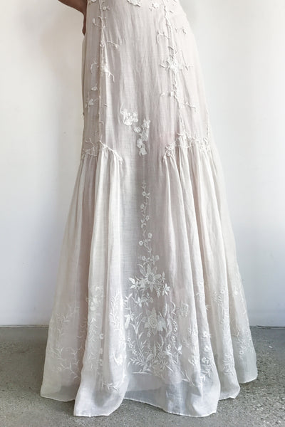 Antique Edwardian Cotton/Silk  Embroidered Gown - XS/S
