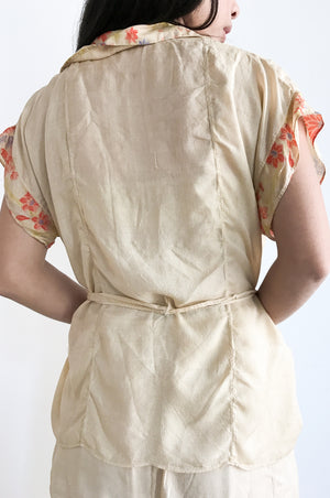 1920s Pongee Silk 2-piece Set - S/M